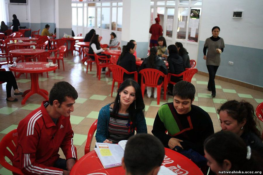 A group of Meskhetian students gather in the cafe of Ataturk Alatoo University in Bishkek.