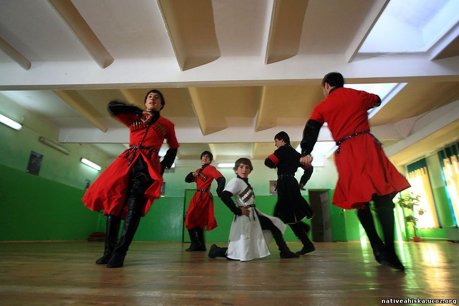 Meskhetian folk dance group Ahiska - the Turkish name for the Meskheti region - rehearse in a Bishkek school.